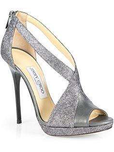 Jimmy Choo Vision Glitter Crisscross Platform Sandal