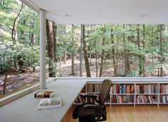 Now, this is my kind a library! The Scholar's Library in Olive Bridge, New York by local architecture firm Gluck & Partners is an unusual raised house plan surrounded by lush, leafy woods. Future House, My House, House In The Forest, House In Nature, Architecture Design, Architecture Interiors, Wood Interiors, Home Libraries, Public Libraries