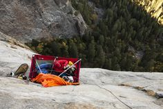 """""""Mikey Schaeffer working on his new route Father Time on Middle Cathedral, Yosemite Valley. Photo by Jeff Johnson"""""""