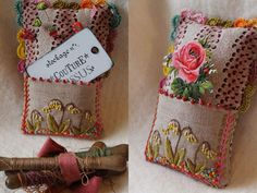 Pincushion and Needle Holder - think fabric collage on this shape