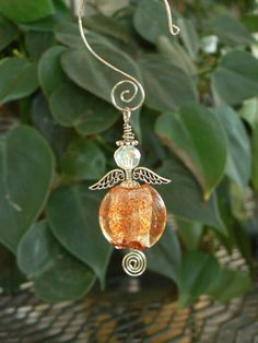 Orange Speckled Venetian Glass Angel by LindaGillottiDesigns, $8.00