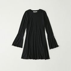 Abercrombie & Fitch Ribbed Knit Dress (¥3,250) ❤ liked on Polyvore featuring dresses, black, abercrombie fitch dresses, ribbed knit dress and rib knit dress
