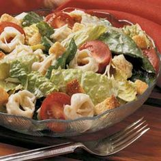 Tortellini Caesar Salad *** I make this all the time and it is SOOOO good, plus its a good way of making your salad fill you up quicker. PAIR it up with a warm peice of tilapia! YUMMM