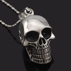 Now available in our store Necklace Style Bl.... Check it out here! http://everythingskull.com/products/necklace-style-black-stainless-steel-skull-pendants-necklaces-charm-jewelry?utm_campaign=social_autopilot&utm_source=pin&utm_medium=pin