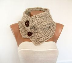 Hand Knitted Cowl, Oatmeal Scarf with Buttons, Chunky Knit Neck Warmer, Mens, Womens, Winter Fashion. $39.00, via Etsy.