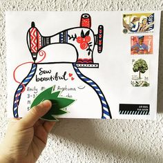 My mother loves to sew for me: pillowcase, bags, pants. Handmade is love. ❤️ My friend, Emily likes to sew too. I hope she likes this colorful sewing machine. :) . . #sewbeautiful #handmadeislove #happymail #snailmail #snailmailrevolution #letter #handwritten #handwrittenwordsarethebest #stamps #postal #vintageemail #friendsacrosstheworld #penpals #letterart #paperart #travel #outgoing
