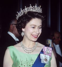 The Girls of Great Britain and Ireland Tiara. Diamond and pearl. Given to the Queen as a wedding present from her grandmother, Queen Mary. It had been purchased for Queen Mary as a wedding present in 1893. #royalty