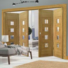 Thrufold Pamplona Oak Flush 2+2 Folding Door - Clear Glass - Prefinished - Lifestyle Image.  #glazed #foldingdoors