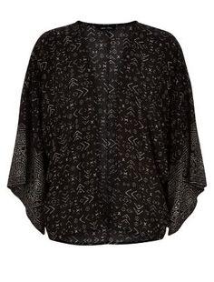 Black Aztec Print Wide Sleeve Kimono    New Look