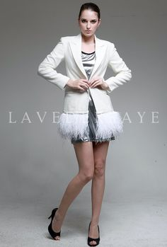 Couture White Tweed Blazer with Detachable Ostrich Feather Trim - Laveder Faye. $145.99, via Etsy.