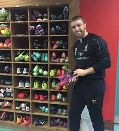 Rickie stopped in the Melwood Boot Room Rickie Lambert, Liverpool Fc, Times, Boots, Shearling Boots, Heeled Boots, Shoe Boot