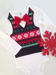 Hey, I found this really awesome Etsy listing at https://www.etsy.com/listing/207505763/fair-isle-onesie-boys-christmas-bow-tie