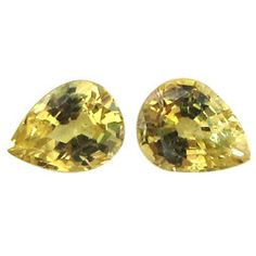 0.72 ct Pair of Pear Shape Yellow Sapphires Lemon Yellow -Gold Crane & Co.