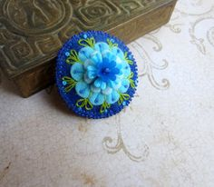 Felt Flower Brooch Wool Felt Pattern Brooch by skippingstones