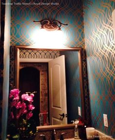 1st Floor bathroom? Trellis Wall Stencil | Teardrop Pattern | Royal Design Studio