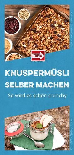 Make your own crunchy muesli: recipe for healthy muesli, but please crunchy. A crunchy muesli can be a delicious alternative to the classic. You can find out how to make a crispy breakfast yourself he Vegan Breakfast Recipes, Healthy Chicken Recipes, Vegan Recipes Easy, Healthy Dinner Recipes, Vegetarian Recipes, Muesli Recipe, Cabbage Salad Recipes, Nutritious Meals, Smoothie Recipes
