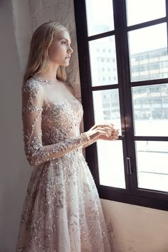 Fall in love with the Lee Petra Grebenau wedding dress collection. An Israeli bridal designer creating gorgeous gowns with breathtaking silhouettes Long Wedding Dresses, Long Sleeve Wedding, Wedding Dress Sleeves, Sheer Wedding Dress, Long Sleeve Gown, Long Sleeve Bridal Dresses, Bridal Dress Design, Wedding Attire, Dress Collection