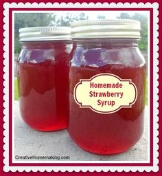 Can Strawberry Syrup Easy recipe for homemade strawberry syrup to put on pancakes, ice cream, or mix into a homemade Italian Soda.Easy recipe for homemade strawberry syrup to put on pancakes, ice cream, or mix into a homemade Italian Soda. Jelly Recipes, Jam Recipes, Canning Recipes, Fruit Recipes, Pancake Recipes, Homemade Syrup, Homemade Sauce, Homemade Seasonings, Strawberry Syrup