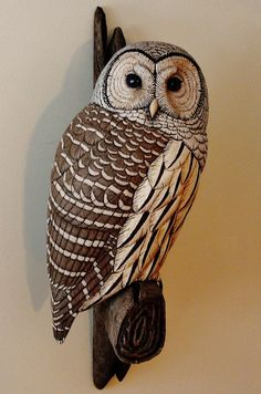 Life-sized Barred Owl carving - Artwork by Tim McEachern.