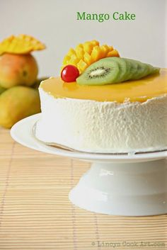 MANGO SPONGE CAKE || flour, oil, sugar, yogurt, mango puree, baking powder, baking soda, salt || FROSTING: whipping cream, sugar || MANGO JELLY: mango puree, sugar, gelatin, water