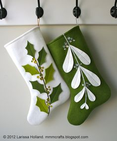 mmmcrafts: Mistleholly felt stocking pattern now available! Also an etsy sale! **I would make the toe larger and rounder. Christmas Sewing, Noel Christmas, Christmas Ornaments, Green Christmas, Christmas Felt Crafts, Diy Christmas Stocking Pattern, Baby's First Christmas Stocking, Classy Christmas, Christmas Applique