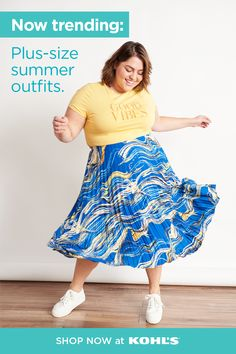 Find summer outfits plus size at Kohl's. Curvy Fashion, Plus Size Fashion, Cool Summer Outfits, Summer Fun, Kohls Outfits, Plus Clothing, Cute Sneakers, Plus Size Summer, Flowy Skirt