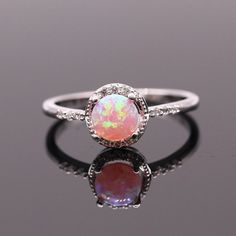 Beautiful Cute Simple Round Jewelry Pink Fire Opal by DTConner