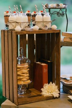 Desert table with BOOKS - Asheville, North Carolina Wedding from Christine Andrews