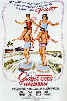 Gidget Goes Hawaiian 1961 The further adventures of surfer Gidget and her boyfriend, Moondoggie, in Hawaii. Deborah Walley took over the role from Sandra Dee. This was the second film in the franchise, the third being Gidget Goes to Rome. There were also made-for-tv movies and series. Gidget Movie, Gidget Goes Hawaiian, Surf Movies, Old Movies, Great Movies, Hooray For Hollywood, Movie Poster Art, Movie Theater, Movie Tv