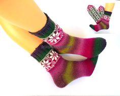 Hand knitted wool socks Warm winter socks from from batic yarn Socks with latvian ornament Frozen Warm girl's socks Womens socks Gift idea