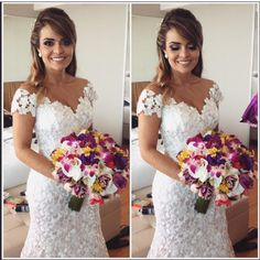 """Carol Hungria no Instagram: """"Mari linda em seu casamento ontem com vestido sequinho de renda guipure francesa ❤️ #rg @fgmakeup #noivasdacarol"""""""