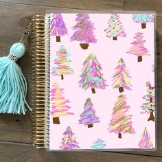 New pastel and glitter Christmas Trees are now in my #Etsyshop! Find this planner cover for Erin Condren and Mambi Happy Planners (all sizes!) By Stylish Planner