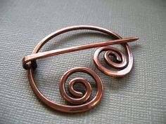 Wandering Circle Copper Penannular  Scarf Pin  Sweater by DonnaJs, $18.50