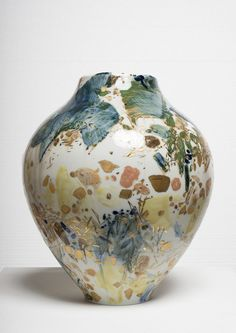 """pppots: """" Chu Teh-Chun porcelain, hand painted by the artist with gold highlights, unique14 x 11 x 11 inches """""""