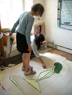 Rose Wylie's studio visit was very inspiring, there was so much to look at and many topics to discuss in a wonderful, quirky and devoted-to. Rose Wylie, Artist Workspace, Royal College Of Art, Red Paint, Outsider Art, Famous Artists, Contemporary Paintings, Art Studios, Artist At Work
