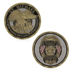 1 of 6 - St Michael Police Officer Badge Patron Saint Commemorative Coin Challenge Art