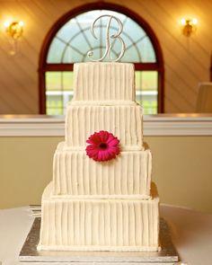 Classic wedding cake idea - square wedding cake with textured buttercream-frosting and monogram cake topper Photo by & Wedding cake under canopy Royal Sonesta Cambridge MA | Wedding ...