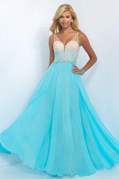 $139.99 2016 A-Line Spaghetti Straps Empire Zipper Prom Floor-Length Chiffon Blue New Arrival prom dresses