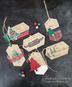 Fancy Friday Stampin' Up! Wrapped in Plaid Tags by Jeanna Bohanon Fancy Friday Stampin' Up! Wrapped in Plaid Tags by Jeanna Bohanon Stampin Up Christmas, Christmas Gift Tags, Christmas Paper, Xmas Cards, Xmas Gifts, Handmade Christmas, Holiday Cards, Christmas Crafts, Plaid Christmas