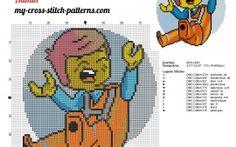 Lego Emmet Brickowski the lego movie cross stitch pattern