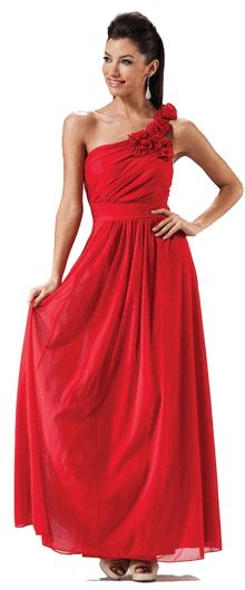 Single Shoulder Soft Flowy Chiffon Long Formal Dress (15 colors XS to 3XL) # red #oneshoulderdress #bridesmaidsdress