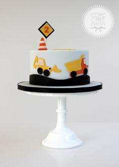 Little boy's construction birthday cake