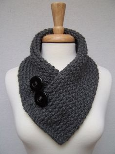 Knitted Scarf Gray Cowl Neck Warmer Buttoned by NinisNiche