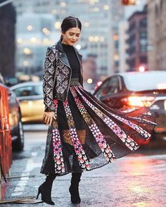 NYFW Outfits we LOVE: Blank Itinerary show us how to wear an embellished moto jacket with a full pleated lace and floral midi skirt