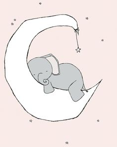 Elephant Nursery Art Pink Grey Nursery by SweetMelodyDesigns, $10.00