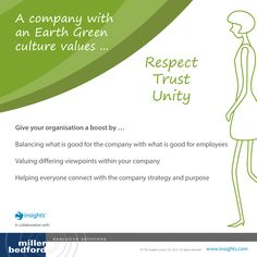 A company with an Earth Green culture values... Respect, trust and unity…