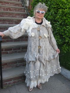 SALE.  Handknitted bohemian lagenlook Summer/Fall  long coat