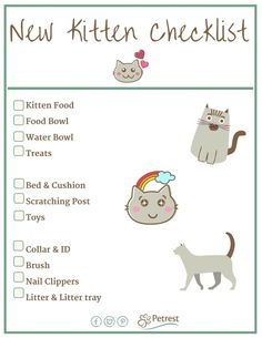 New Kitten Checklist - Petrest