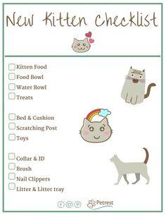 New Kitten Checklist - Petrest