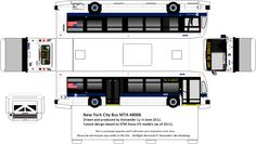New York City Bus MTA paper bus model - Alexander's Bus Drawings - paperbus.com - DIY paper crafts